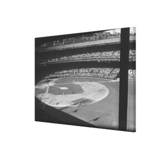 Baseball match on stadium canvas print