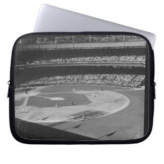 Baseball match on stadium computer sleeves