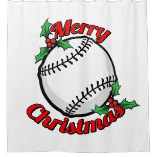 Baseball Merry Christmas Shower Curtain
