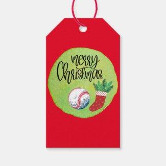 Baseball Merry Christmas with ball and sock   Gift Tags