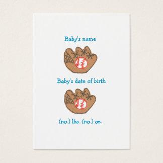 Baseball mini birth announcement business card