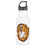 Baseball Mitt and Ball 18oz Water Bottle