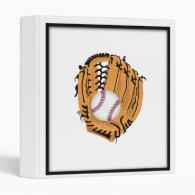 Baseball Mitt and Ball 3 Ring Binder
