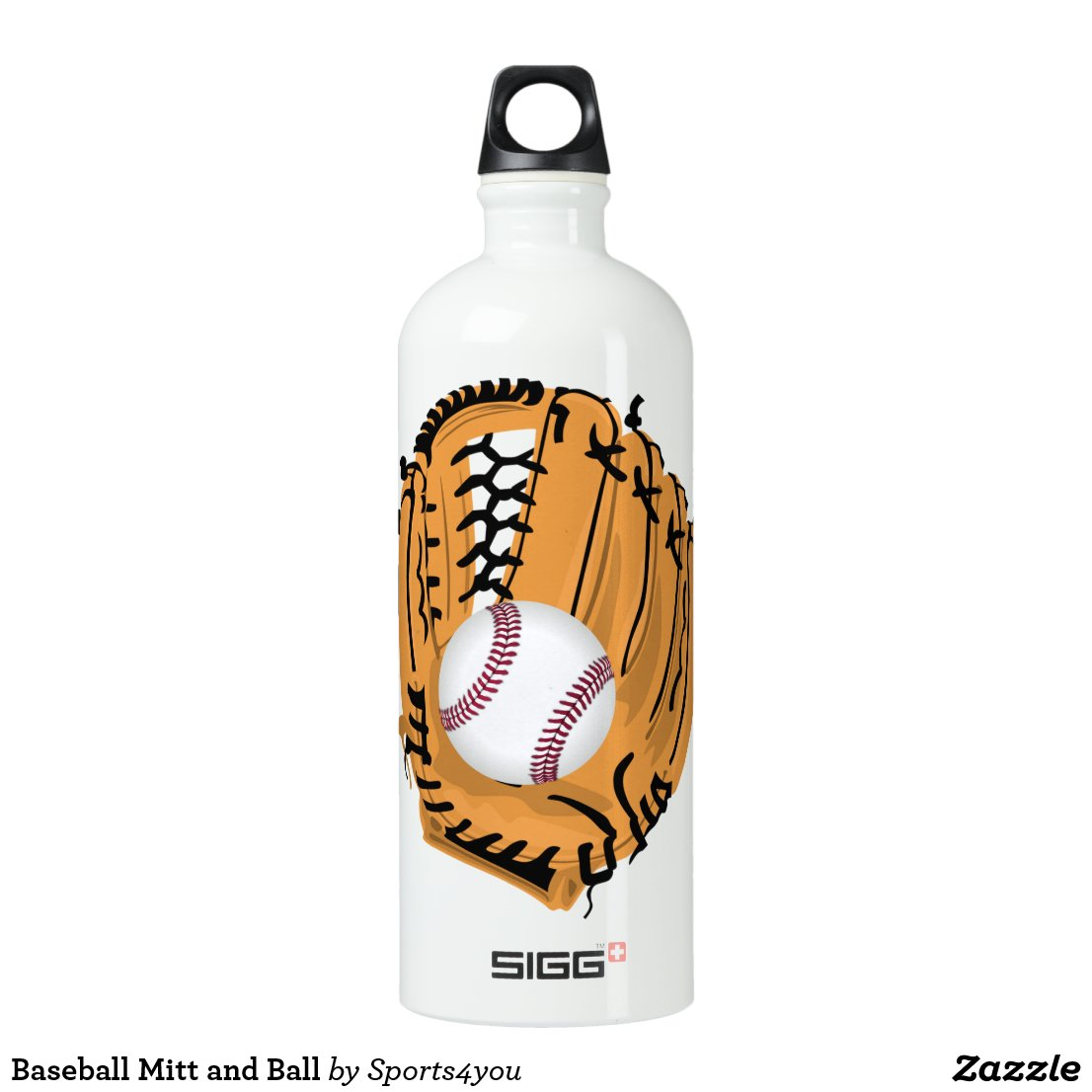 Baseball Mitt and Ball Aluminum Water Bottle