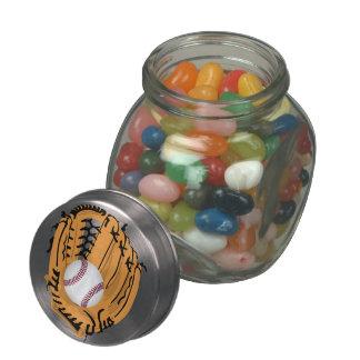 Baseball Mitt and Ball Glass Candy Jars