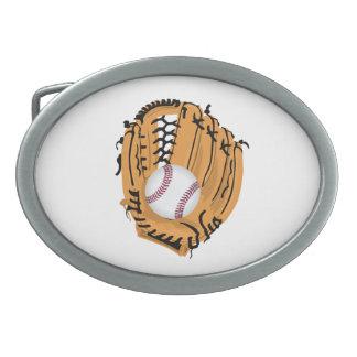 Baseball Mitt and Ball Oval Belt Buckle