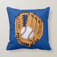 Baseball Mitt and Ball Throw Pillow