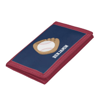 Baseball Mitt and Ball Trifold Wallet