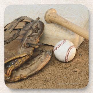 Baseball, Mitt, and Bat on Base Beverage Coaster