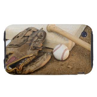 Baseball, Mitt, and Bat on Base iPhone 3 Tough Covers