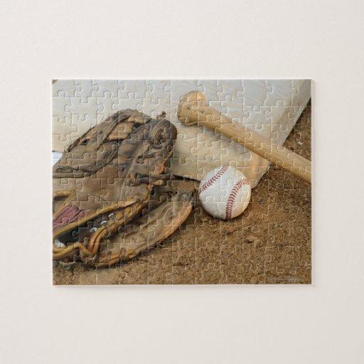 Baseball, Mitt, and Bat on Base Jigsaw Puzzles