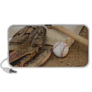 Baseball, Mitt, and Bat on Base Portable Speakers