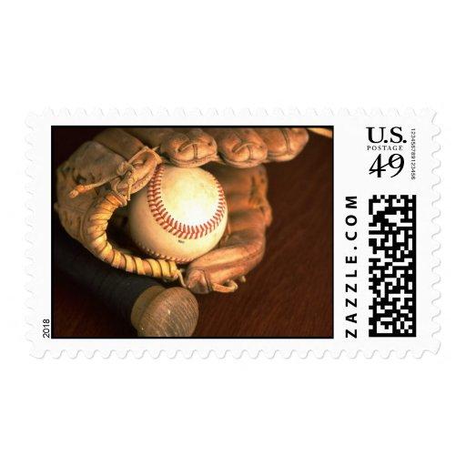 Baseball Mitt And Bat Stamp