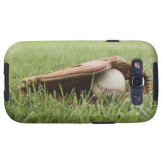 Baseball mitt with ball in grass galaxy SIII cover