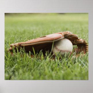 Baseball mitt with ball in grass print