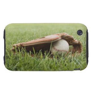 Baseball mitt with ball in grass tough iPhone 3 case