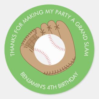 Baseball Mitten and Ball Birthday Classic Round Sticker