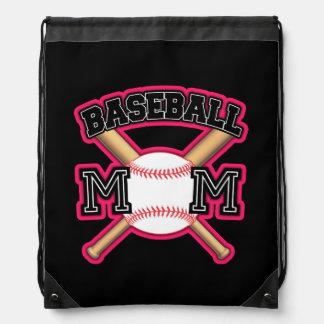 Baseball Mom Back pack Pink Drawstring Backpack
