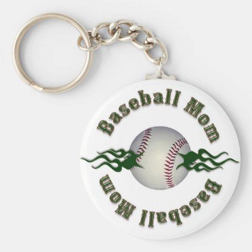 Baseball Mom Basic Round Button Keychain