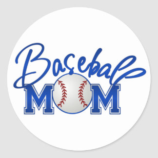 Baseball MOM blue Classic Round Sticker