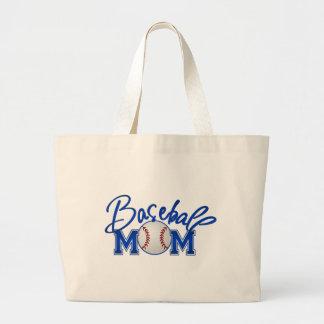 Baseball MOM blue Large Tote Bag