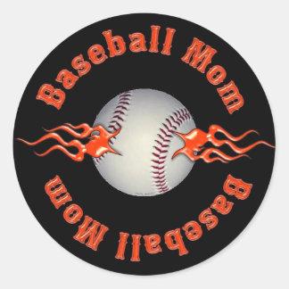 Baseball Mom Classic Round Sticker