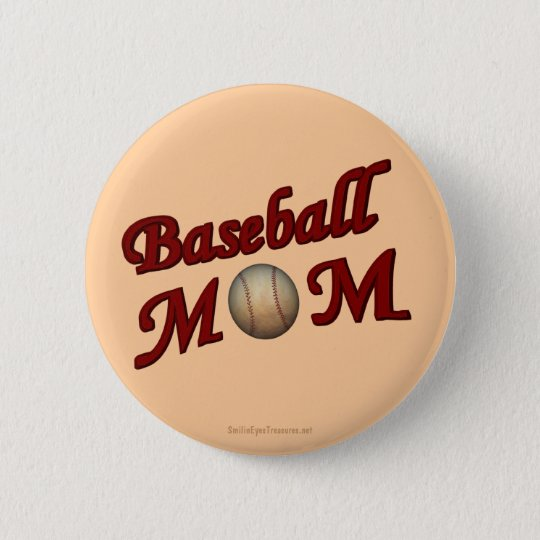 Baseball Mom Cute Button