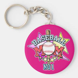 Baseball Mom Key Ring Basic Round Button Keychain
