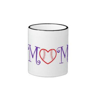 Baseball Mom, Purple Ringer Mug