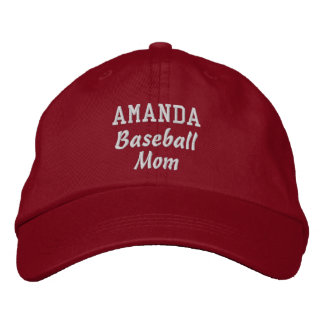 BASEBALL Mom RED Embroidered Hat with Custom Name
