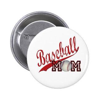 Baseball Mom Red Pinback Button