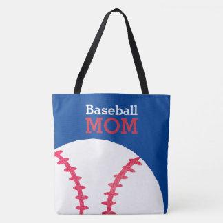 Baseball Mom Retro Personalized Trendy Blue Tote Bag