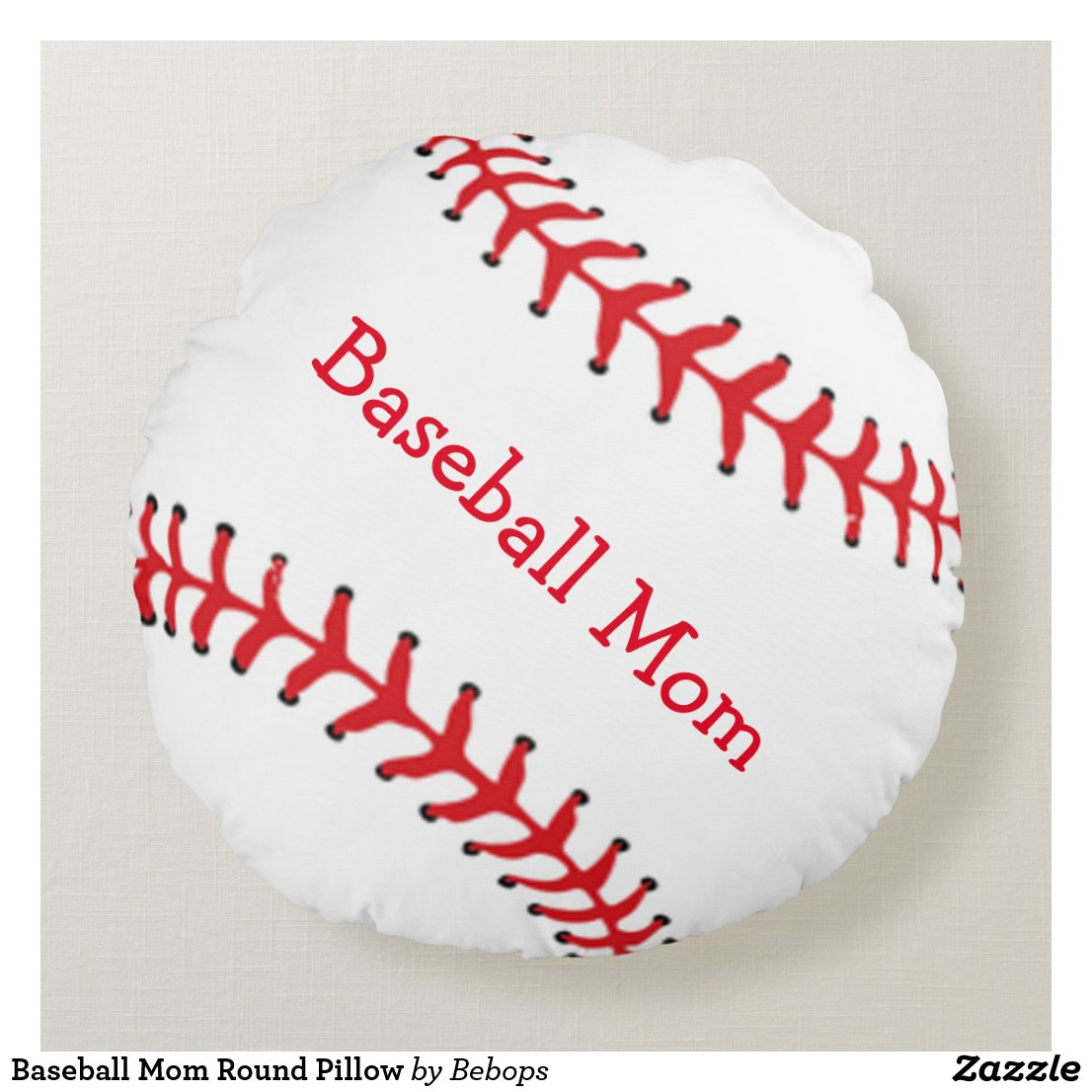 Baseball Mom Round Pillow