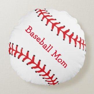 Baseball Mom Round Pillow