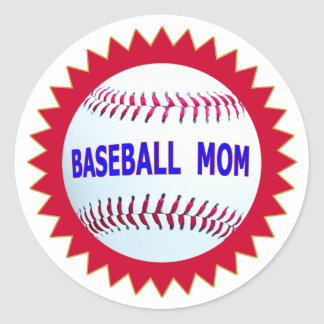 Baseball Mom T-Shirts and Unique Gift Products Classic Round Sticker