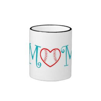 Baseball Mom, Teal Ringer Mug