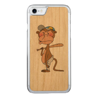 baseball monkey player carved iPhone 7 case
