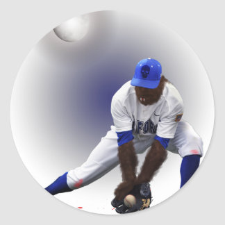 Baseball Monster Wolf Animal Classic Round Sticker
