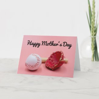 Baseball Mother's Day with bat and glove on pink   Card