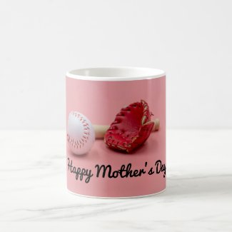 Baseball Mother's Day with bat and glove on pink   Coffee Mug