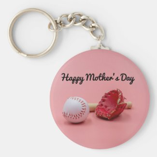 Baseball Mother's Day with bat and glove on pink  Keychain