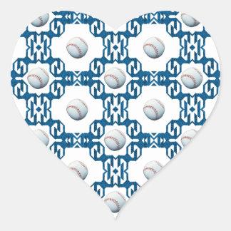 Baseball Motif Heart Stickers