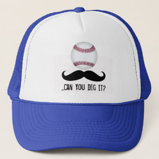 Baseball Mustache Can You Dig It Blue Trucker Hat