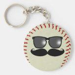 Baseball Mustache Keychain