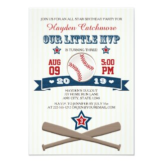 BASEBALL MVP BIRTHDAY INVITATION FOR CHILDREN