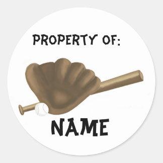 Baseball Name Classic Round Sticker