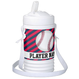 Baseball Navy Blue & Red Player & Team Name Jugs Beverage Cooler