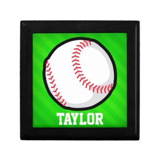 Baseball; Neon Green Stripes Jewelry Box