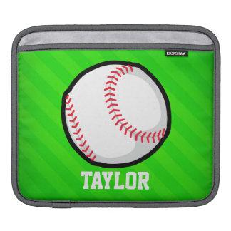 Baseball; Neon Green Stripes iPad Sleeve