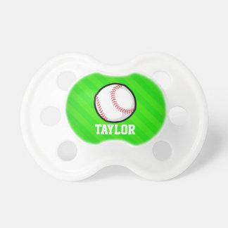 Baseball; Neon Green Stripes BooginHead Pacifier
